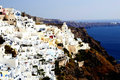 Landscape blue and white buildings of santorini greece mountain Stock Photography