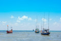 Landscape with boats in the sea Royalty Free Stock Photo