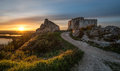 A landscape with the chateau gaillard saucy castle at sunset with the sun in back light taken les andelys normandy france Royalty Free Stock Image