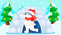Landscape christmas white bear illustration of Stock Images