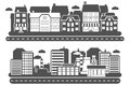 Landscape city banner industrial and urban building black horizontal set isolated vector illustration Stock Images
