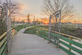 Landscape from city park yambol beautiful sunset Royalty Free Stock Photos