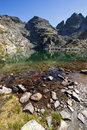 Landscape with Clean water of The Scary lake and Kupens peaks, Rila Mountain Royalty Free Stock Photo
