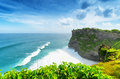 Landscape coast at uluwatu temple bali indonesia Stock Image