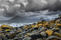 Landscape coastline view of rocks and cullin hills scotland united kingdom Royalty Free Stock Image