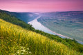Landscape of colorfull sunrise in summer bend the river and shallow fog the view from the hill Royalty Free Stock Photography
