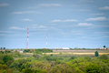 Landscape with communication antenna Stock Photography