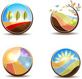 Landscape concept colorful nature illustrations in the round shapes flying leafs meadow sunrise fields and trees on a white Stock Photography