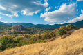 Landscape in crimean mountains near red rock a place for climbers gathering Royalty Free Stock Photo