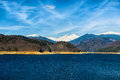 Landscape with dam lake Vidraru, in Romania Royalty Free Stock Photo