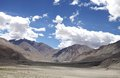 Landscape with dark colours ophiolite bodies clear sky beautiful of ladakh region Stock Photography