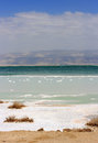 Landscape at the dead sea israel on a with salty deposits in foreground Stock Photo