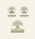 Landscape Design Creative Vector Concept. Tree With Roots Inside Circle Organic Sign Set On Craft Paper Background.