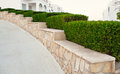 Landscape design. Nicely trimmed bushes at the front yard. Empty Royalty Free Stock Photo