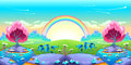 Landscape of dreams with rainbow Royalty Free Stock Photo