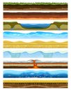 Landscape earthy slice soil section mountains with water geological land underground nature cross land ground vector Royalty Free Stock Photo
