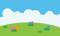 Landscape of easter egg on hill vector flat