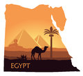 The landscape of Egypt with a camel, the pyramids and the Sphinx in the form of maps Royalty Free Stock Photo