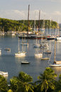 Landscape english harbor antigua caribbean view harbour island sea yachts and sail boats Stock Images