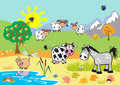 Landscape with farm cartoon animals Stock Photography