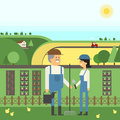 Landscape Farm, two farmers care for their land, planting, pets.