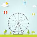 Landscape with a ferris wheel this is file of eps format Royalty Free Stock Image