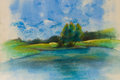 Landscape fine art oil canvas pastel Royalty Free Stock Image