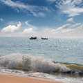 Landscape with fisherman boats in sea Royalty Free Stock Photography
