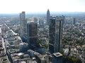 Landscape with frankfurt skyscrapers of taken on from even higher skyscraper for editorial use only Royalty Free Stock Photography