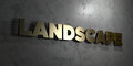 Landscape - Gold sign mounted on glossy marble wall - 3D rendered royalty free stock illustration