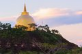 Landscape of the golden pagoda on phu lanka thailand sunrise Royalty Free Stock Image