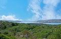 The landscape of the granite islands caprera italy september small bridge between maddalena and caprera and la maddalena town on Royalty Free Stock Photos