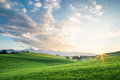 Landscape with green field Royalty Free Stock Photo