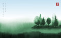Landscape with green trees in fog hand drawn with ink in asian style. Green misty meadow and blue sky. Traditional Royalty Free Stock Photo