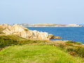 Landscape on the guernsey island seacoast and view of gulf channel islands Stock Photos