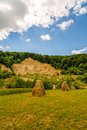 Landscape with haystack country in romania Royalty Free Stock Photos