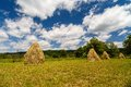 Landscape with haystack country in romania Royalty Free Stock Image