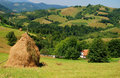 Landscape with haystack and house Royalty Free Stock Photo