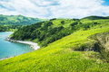 Landscape with hills mountains trees grass on the beach russia sea of japan Royalty Free Stock Photo