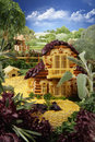 Landscape with homestead made from food breadsticks macaroni snacks and others different foods handiwork the image is Royalty Free Stock Image