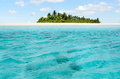 Landscape of honeymoon island in aitutaki lagoon cook islands view Stock Images
