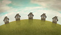 Landscape of houses horizontal illustrative imagine representing five same on a hill with cloudy sky Royalty Free Stock Photography