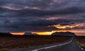 Landscape in Iceland with Cloudy Morning Sky and Empty Road. Royalty Free Stock Photo