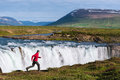 Landscape of Iceland with Godafoss waterfall Royalty Free Stock Photo