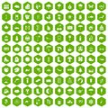 100 landscape icons hexagon green