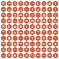 100 landscape icons hexagon orange