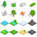 Landscape icons set, isometric 3d style