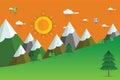 Landscape illustration, Summer or spring landscape, vector background. Royalty Free Stock Photo