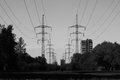 Landscape with the image of ETL power transmission line. Royalty Free Stock Photo