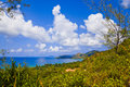 Landscape of island praslin seychelles vacation background Stock Images